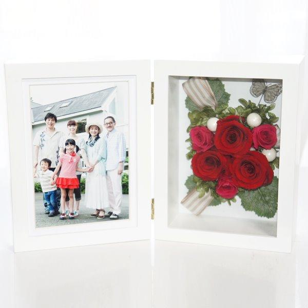 お母様や女性への還暦祝いのプリザーブドフラワー・花の写真立て